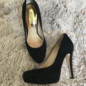 Michael Kors black suede close toed pumps
